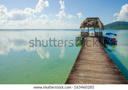 Calm Lake with pier - stock photo