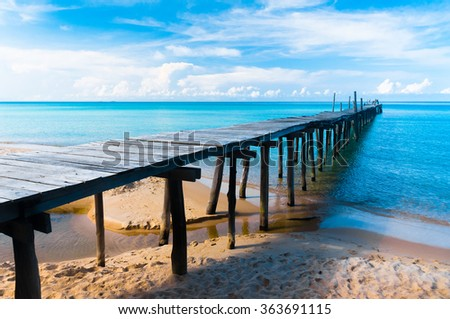 Calm Meditation Jetty to the blue  - stock photo