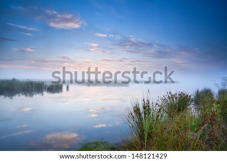 calm misty morning over wild lake, Drenthe, Netherlands - stock photo