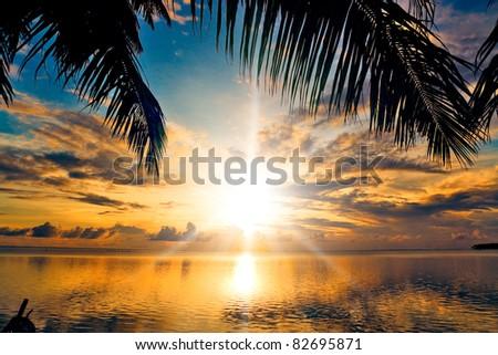 Calm Ocean In Paradise - stock photo