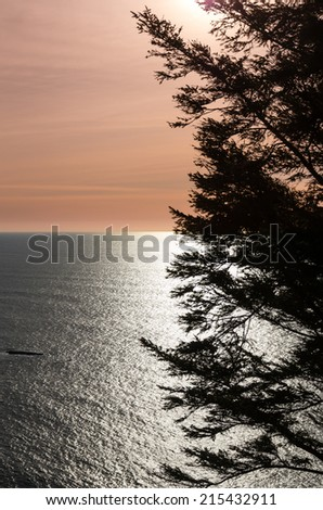 Calm ocean view at sunset with silhouette - stock photo