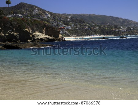 Calm ocean water in Laguna Beach, California.