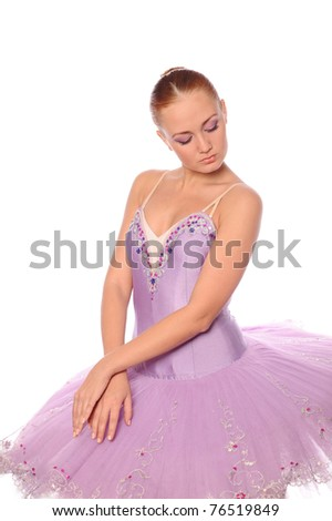 calm red-haired ballet dancer isolated on white - stock photo