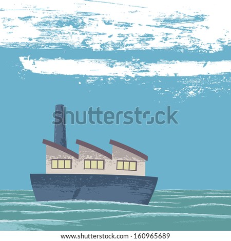 Calm sea. A boat (which is a company) sails quiet in a calm sea. Metaphor for a company that moves forward despite the difficulties. - stock photo