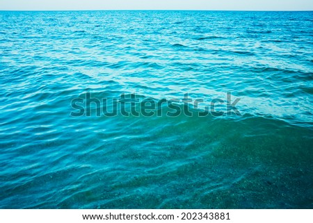 Calm sea ocean background texture view - stock photo