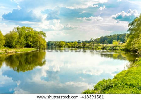 calm summer day on river, landscape sunny image - stock photo