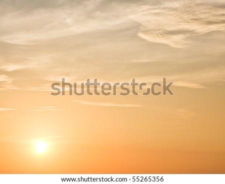 Calm sunset sky - stock photo