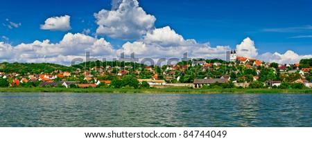 Calm village landscape panorama at lake Balaton in Tihany - stock photo