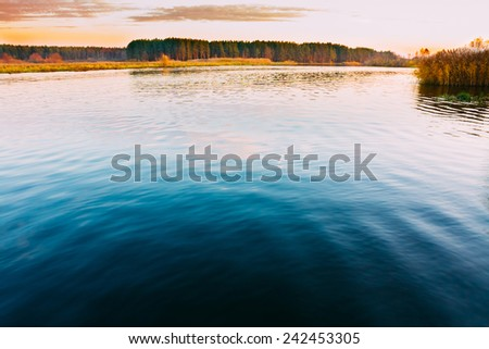 Calm Water Of Lake, River, Forest On Other Side. Landscape. Russian Nature Background. - stock photo
