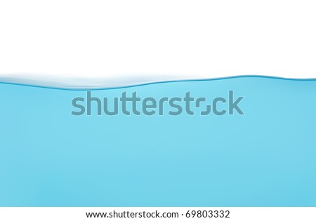 Calm water wave isolated on white background - stock photo