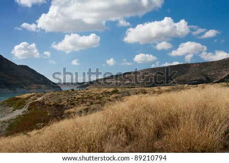 Calming landscape of mountains and beautiful Lake (Cyprus, the Troodos Mountains) - stock photo
