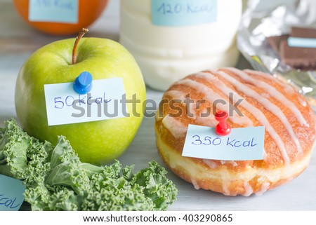 Calorie counting and food with labels concept - stock photo