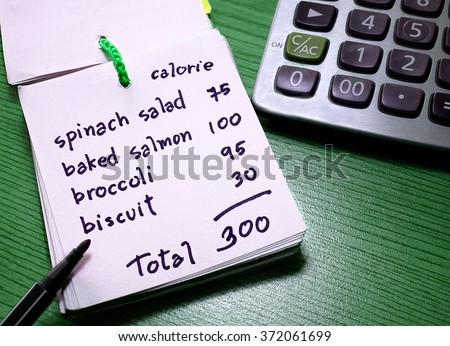 Calorie counting on a paper with calculator. Diet and weight control concept - stock photo
