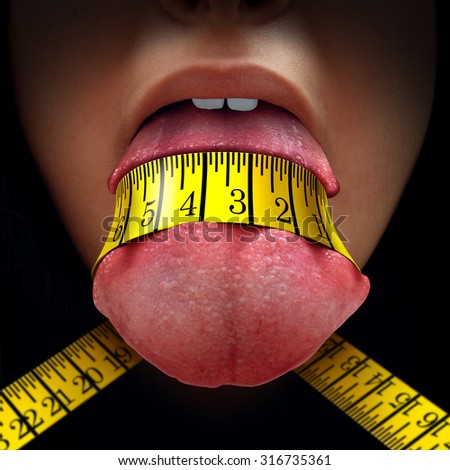 Calorie restriction concept as a tape measure wrapped tight around a human tongue as a fasting diet or dieting symbol for anorexia or dietary control. - stock photo