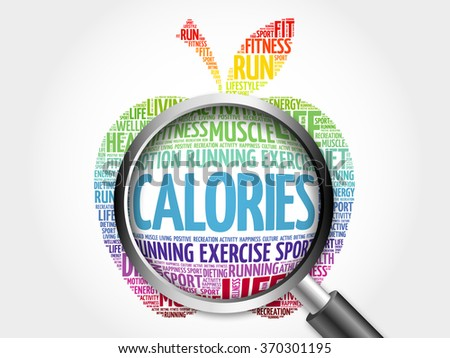 CALORIES apple word cloud with magnifying glass, health concept - stock photo