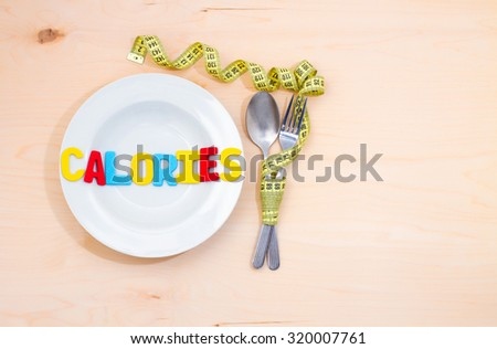 Calories word on the plate. A low-calorie diet for weight loss - stock photo