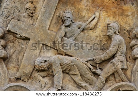 Calvary - Stations of the Cross - Christ Carrying the Cross - stock photo