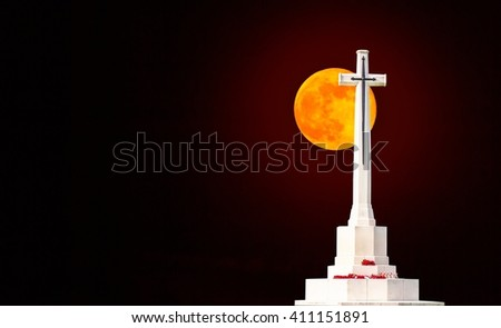 Calvary under the moonlight in the night.(abstract full moon of dreams) - stock photo