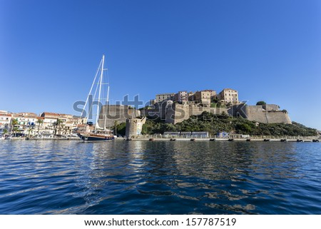 Calvi - coastal town on the island of Corsica, France. Christopher Columbus supposedly was born there.  - stock photo