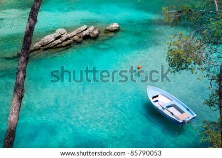 Calvia Cala Fornells turquoise mediterranean in Majorca at balearic islands of Spain - stock photo