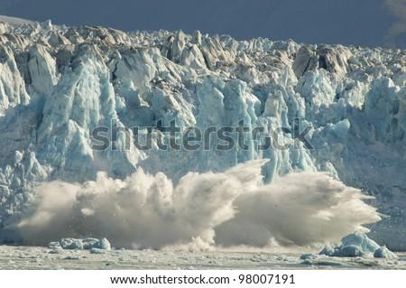 Calving glacier in Alaska. - stock photo