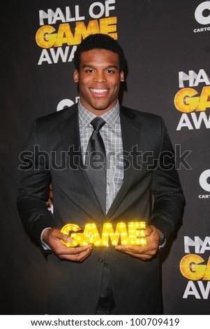 Cam Newton at the Cartoon Network Hall of Game Awards, Barker Hangar, Santa Monica, CA 02-18-12 - stock photo