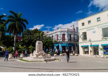 CAMAGUEY, CUBA - JAN 26, 2016: View of Plaza Maceo square in Camaguey. In the middle, tehre is a monument of Antonio Maceo.