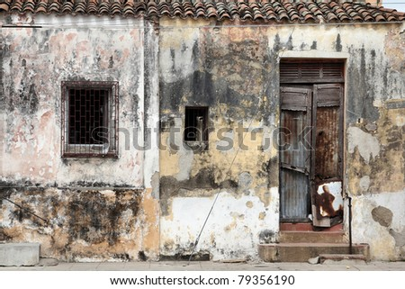 Camaguey, Cuba - old town listed on UNESCO World Heritage List. Urban decay. - stock photo