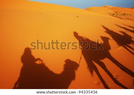 Camal caravan on a Nomad trip through sand desert - stock photo