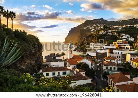 Camara de Lobos, small port on the island of Madeira. - stock photo