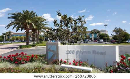 CAMARILLO, CA - APRIL 8, 2015: Stylish road address of hi-tech company corporate headquarter office in Camarillo, California - stock photo