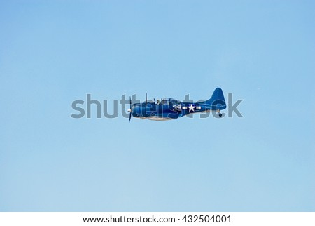 CAMARILLO/CALIFORNIA - AUGUST 22, 2015: Douglas SBD-5 Dauntless single engine military aircraft displaying its flying agility at the Wings Over Camarillo Airshow in Camarillo, California USA