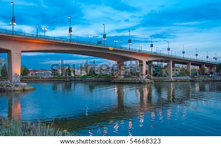 Cambie Bridge At Night, Downtown of Vancouver, Canada. - stock photo