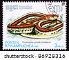 CAMBODIA - CIRCA 1987:  A stamp printed in Cambodia shows an endangered San Francisco Garter Snake, Thamnophis sirtalis tetrataeni, circa 1987. - stock photo