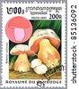 CAMBODIA - CIRCA 1997: A stamp printed in Cambodia shows Boletus satanas or Satan's mushroom, series, circa 1997 - stock photo
