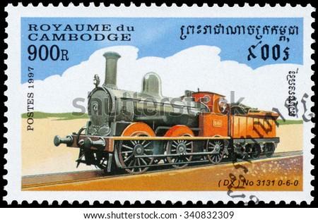 CAMBODIA - CIRCA 1997: a stamp printed in Cambodia shows image of a train, circa 1997 - stock photo