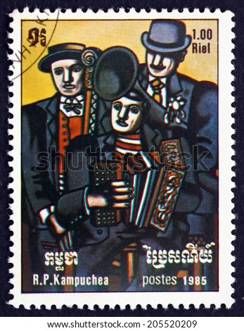 CAMBODIA - CIRCA 1985: a stamp printed in Cambodia shows Three Musicians, Painting by Fernand Leger, French Painter, circa 1985 - stock photo