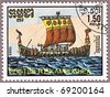 CAMBODIA - CIRCA 1986: A stamp printed in Cambodia shows Viking long ship, series is devoted to sailing vessels, circa 1986 - stock photo