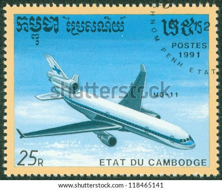 CAMBODIA - CIRCA 1991: stamp printed by Cambodia, shows plane, circa 1991.