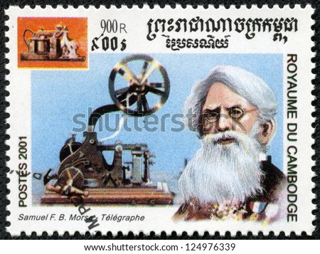 CAMBODIA - CIRCA 2001: stamp printed by Cambodia, shows Samuel Morse,circa 2001. - stock photo