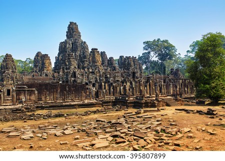 Cambodia Famous Landmark. Prasat Bayon Temple In Angkor Thom, Angkor Wat Complex, Siem Reap. Ancient Khmer Architecture. Popular Tourist Attraction, Travel Destination In Asia. Tourism. World Heritage - stock photo