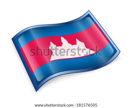 Cambodia flag icon, isolated on white background - stock photo