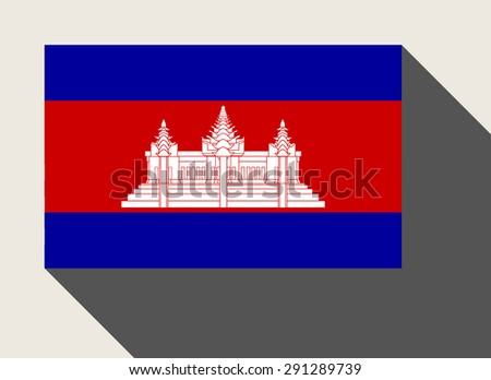 Cambodia flag in flat web design style. - stock photo