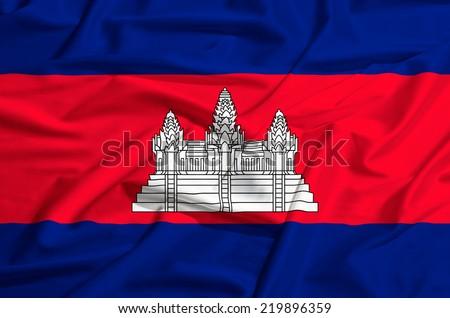 Cambodia flag on a silk drape waving - stock photo
