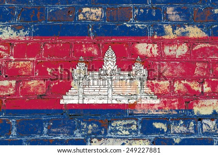 Cambodia flag painted on old brick wall texture background - stock photo