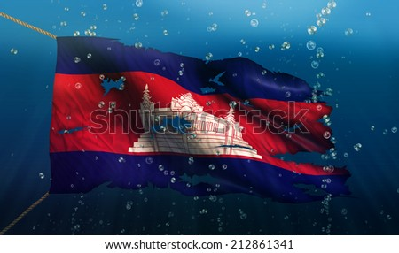 Cambodia Under Water Sea Flag National Torn Bubble 3D - stock photo