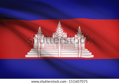 Cambodian flag blowing in the wind. Part of a series. - stock photo