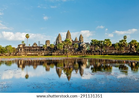Cambodian landmark Angkor Wat with reflection. Siem Reap, Cambodia - stock photo