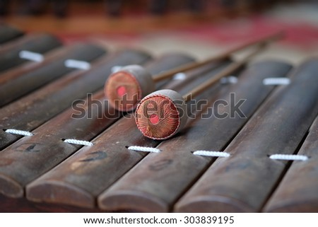 Cambodian musical instrument (Alto xylophone)  - stock photo