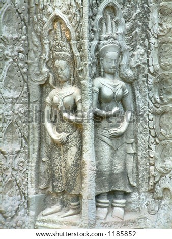 cambodian stone sculpture - stock photo